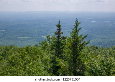 Overlooking New Hampshire from high up on mountain top.