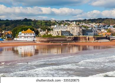 Overlooking Paignton Beach from the pier Devon England UK Europe