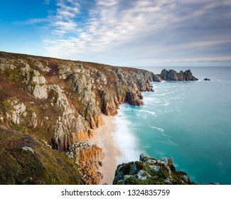 Overlooking Pedn Vounder Beach from Treen Cliffs near Porthcurno  Cornwall England UK Europe