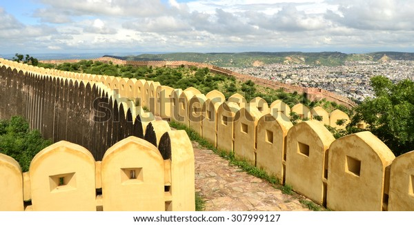 Overlooking the pink city walls Nahargarh Fort. Jaipur, Indian, Rajasthan.
