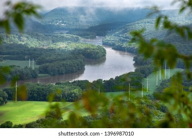 overlooking river valley through trees. Susquehanna River