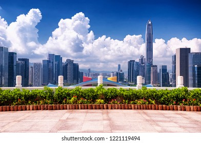 Overlooking the shenzhen skyline, civic center and pingan financial center on a sunny blue sky day.