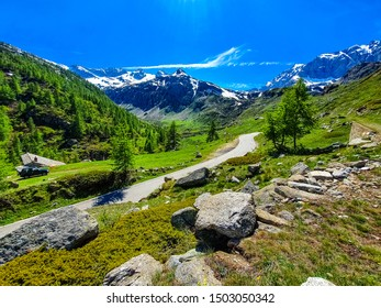 Overlooking the snow capped peaks of the superb Italian Alps in Gran Paradiso. Graian Alps are located between the Aosta Valley and Piedmont regions.