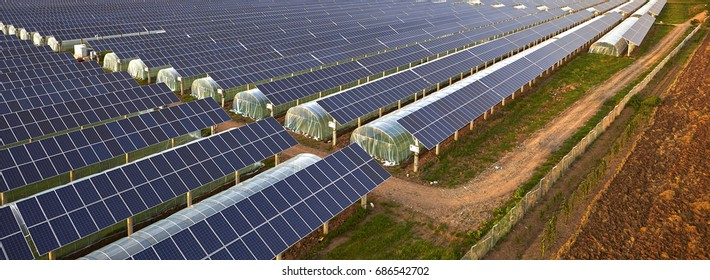 Overlooking the solar photovoltaic panels and agricultural planting temperature shed