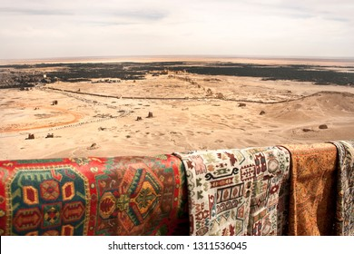 overlooking Temple of Bel in Palmyra at Palmyra Casle with fabric on sale