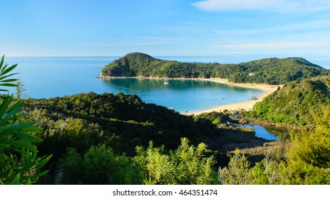 Overlooking Tropical Forest and Sandy Beaches Anchorage Bay, Abel Tasman National Park, New Zealand
