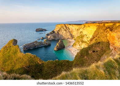 Overlooking Western Cove at sunset near Portreath on the North Cliffs Cornwall England UK Europe