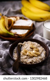 Overnight  banana Oats in to the bowl.selective focus
