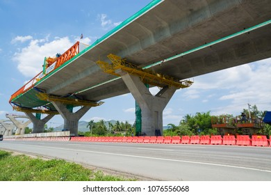 Overpass Construction site of Expressway, Highway or Autobahn in Thailand as Modern Transportation Technology of Engineering