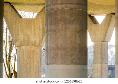 overpass flyover road viaduct, pillars detail