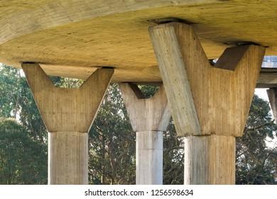overpass flyover road viaduct, pillars detail