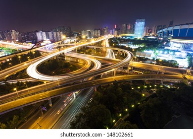 overpass with motion light at night