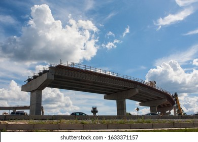 An overpass ramp sits partially constructed at the intersection of GA 400 and I-285 on July 22, 2019 in Atlanta, GA.