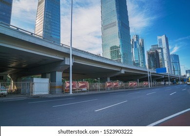 The overpass and its surrounding modern city buildings in the capital city of China