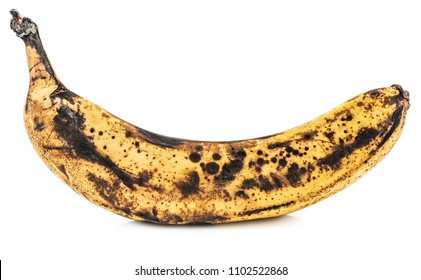 Overripe banana isolated on white background with shadows