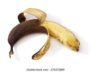 overripe banana, isolated on white banana