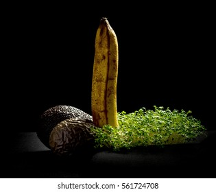 Overripe fruits, banana, avocado and maracuja,