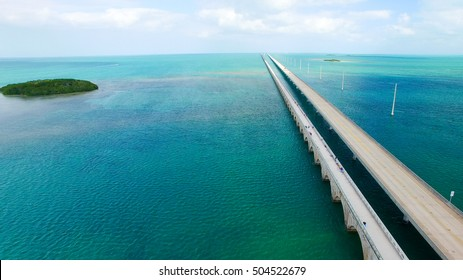 Overseas Highway aerial view on a beautiful sunny day, Florida.