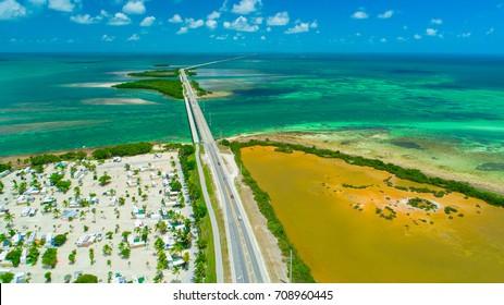 Overseas highway to Key West island, Florida Keys, USA. Aerial view beauty nature.