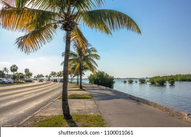 The Overseas Highway, the highway that connects the islands Keys from Florida, called North Roosevelt Blvd when entering in Key West. This boulevard is a long street with palms along the ocean.