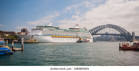 Overseas Passenger Terminal at Circular Quay- April 8, the main port of overseas passenger transportation of Sydney on April 8, 2018 in Sydney, New South Wales, Australia