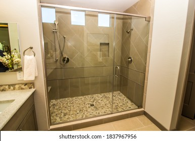 Oversize Clear Glass Walk-In Shower With Two Shower Heads