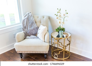 Oversized armchair reading sitting nook in a new construction house