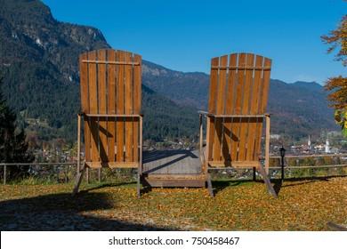 Oversized loungers on Riessersee overlooking Garmisch-Partenkirchen