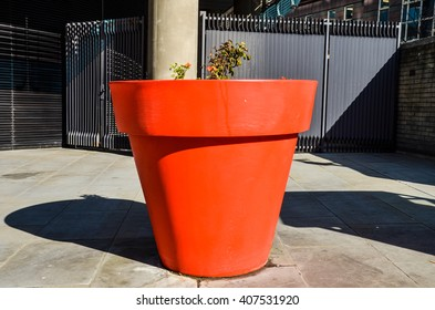 Oversized plant pot in the city