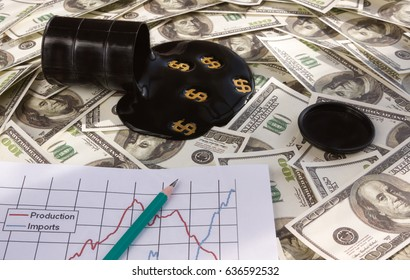 Overturned barrel with oil on dollars. schedule. sales growth. import. Business. Country guardianship. Barrel. export. Raw materials. Fuel industry. Oil production.