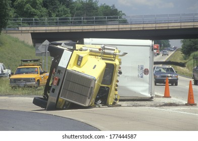 Overturned big rig on Route 66, Virginia