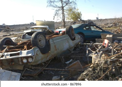 Overturned car amongst ruins in New Orleans, 9th Ward
