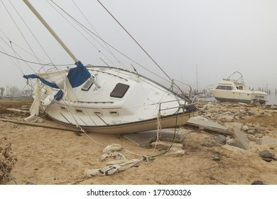 Overturned sailboat in wake of Hurricane Ivan in Pensacola Florida