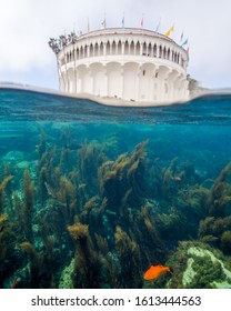 Over-Under of the Casino Building and the Underwater World of Catalina Island in California