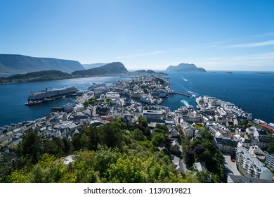 overview of aalesund city in norway.