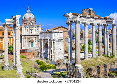 Overview of the ancient Forum, showing temples, pillars, the senate and ancient streets,Rome,Italy