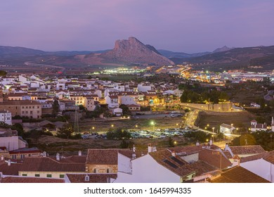 An overview of Antequera, a town in the province of Malaga in the autonomous community of Andalusia in Spain. In the background you can see the Peña de los Enamorados a symbol of the town.