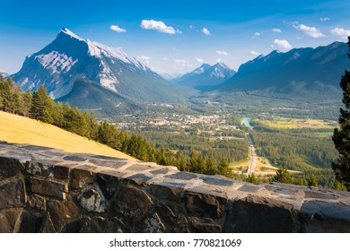 Overview of Banff in the canadian rocky mountains