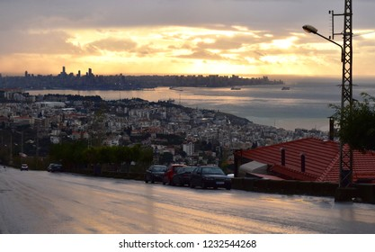 overview of Beirut in a distance and Jounieh  and mediterranee after rain during sunset