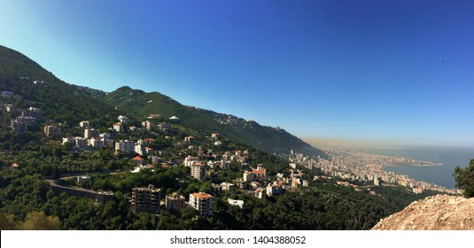 overview of Beirut, Jounieh and mount Lebanon, Lebanon with a dramatic cloud of atmospheric pollution