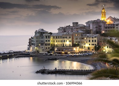 overview of Bogliasco after the sunset,small village in Mediterranean sea, Italy