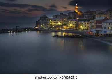 overview of Bogliasco at sunset ,small village in Mediterranean sea, Italy