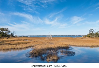 Overview of the Bogue Sound coastal area on the Pure knoll shores of Emerald island between the outer banks and the mainland of North Carolina
