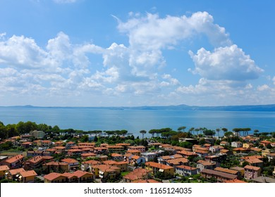 Overview of Bolsena, town on Lake Bolsena in Italy, by day in summer