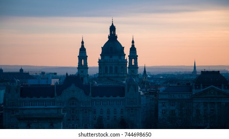 Overview of Budapest with St Stephen Basilica in Budapest, Hungary