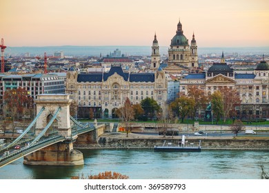 Overview of Budapest with St Stephen (St Istvan) Basilica in Budapest, Hungary