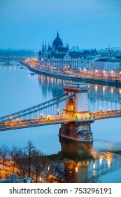 Overview of Budapest with the Szechenyi Chain Bridge at sunrise