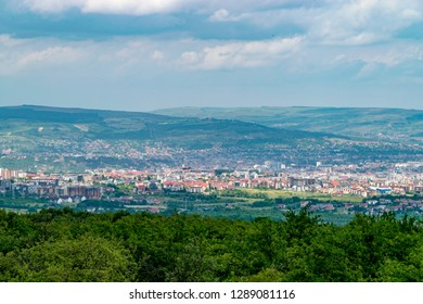 Overview of Cluj-Napoca city viewed from Feleac Hill in Cluj-Napoca, Romania.