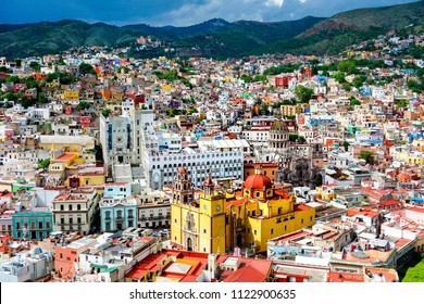 Overview of the colorful city of Guanajuato. Mexico.
