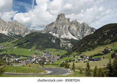 overview of Corvara, a village in South Tyrol